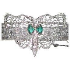 Art Deco Rhodium Filigree Bracelet, Rhinestone Vintage Butterfly