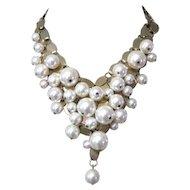 Faux Pearl Necklace, Vintage Bib