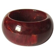 Bakelite Ring, Red Marbled Domed Wide Band