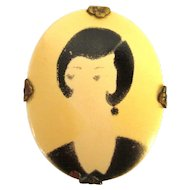 1920's Celluloid Brooch, Vintage Flapper Face Pin