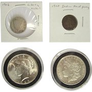 Morgan and Peace Dollar, Indian Head Penny, Liberty Nickel