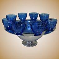 Saturn Punch Bowl Set, Chrome & Cobalt Glass, Deco 40's
