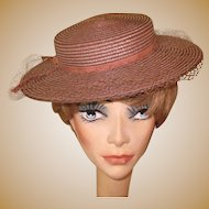 Vintage Straw Hat, Ladies Wide Brim Boater