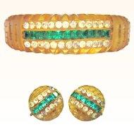 Apple Juice Bakelite Bracelet & Earrings, Carved Clamper