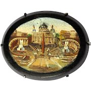 Micro Mosaic Brooch St. Peters, Italian Victorian, Grand Tour