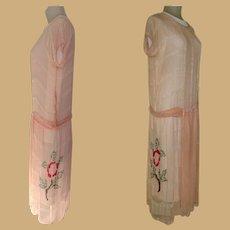 Vintage Beaded Flapper Dress, Silk 1920's
