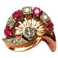 Ruby & Diamond Rose Gold Ring, 14K