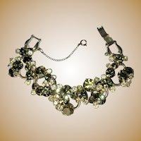 Juliana Rhinestone Bracelet, 5 Link Clear, Green, Vintage