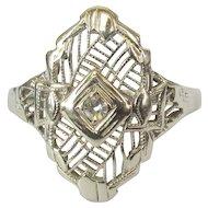 14K Filigree Ring, Diamond Art Deco