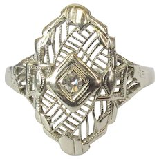 14K Filigree Ring, Diamond Art Deco