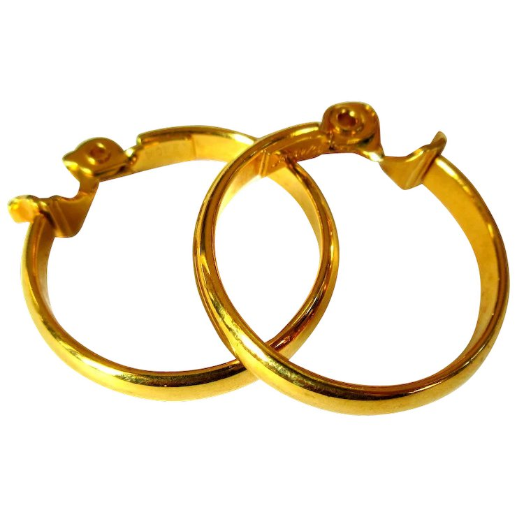 Gold Hoop Earrings Vintage Monet