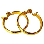 Gold Hoop Earrings, Vintage Monet