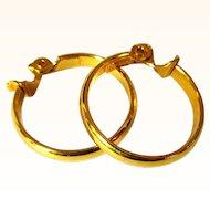 Gold Hoop Earrings, Vintage Monet