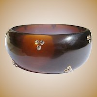 Lucite Rhinestone Bracelet, Vintage 60's Bangle