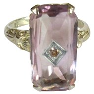Amethyst 18K Gold Ring, Filigree Deco Diamond