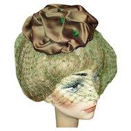 Vintage Beaded Hat, 1940's Satin