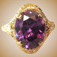 Filigree Ring, Art Nouveau, 10K Synthetic Amethyst