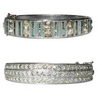 Deco Rhinestone Bracelet, Hinged Bangle, 1920's