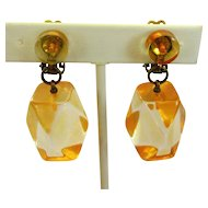 Lucite Drop Earrings, Vintage 60's, Japan
