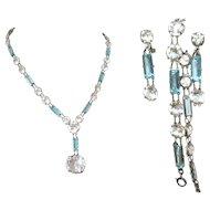 Crystal Necklace, Bracelet, Earrings, Art Deco Vintage Czech