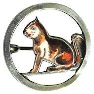 Sterling Cat Pin, Enamel Brooch, Vintage Germany