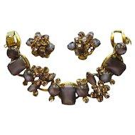 Juliana Rhinestone Bracelet & Earrings, Purple, Over the Top