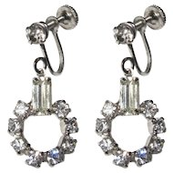 Rhinestone Hoop Earrings, Art Deco