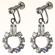 Rhinestone Hoop Earrings, Art Deco