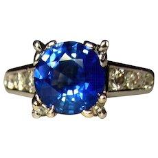 Platinum, Sapphire Ring, Diamonds, 1940's Engagement, GIA