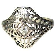 Sterling Filigree Ring, Rhinestone, Art Nouveau Revival