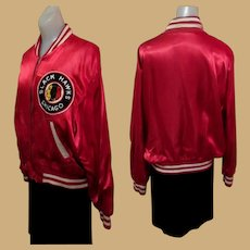 Vintage Blackhawks Jacket, 1940's Satin Hockey
