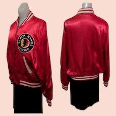 Vintage Blackhawks Jacket, 1940's Satin Hockey