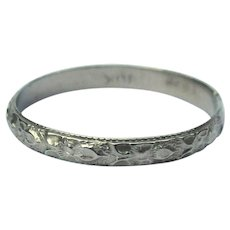 10K Gold Ring, Baby Band, Floral White Gold