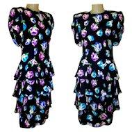 Vintage Silk Dress, Rows of Ruffles, 80's Designer