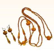Vintage Glass Necklace & Earrings, Czech, 1920's Deco