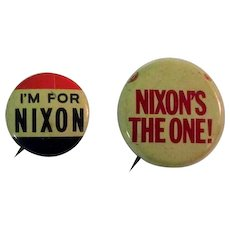 Nixon Campaign Buttons, Vintage Pinbacks, Two