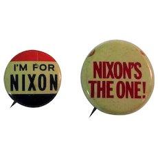 Nixon Campaign Buttons, Vintage Pinbacks, Two