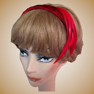 Vintage Headband Hat, Red Velvet & Feathers