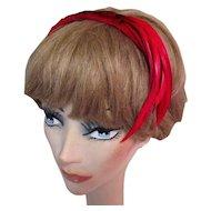 Vintage Headband Hat, Red Velvet & Feathers