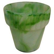 Akro Agate Flower Pot, Jadite Slag Glass, 1940's