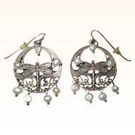 Sterling Dragonfly Earrings, Pearls, Vintage Hoops