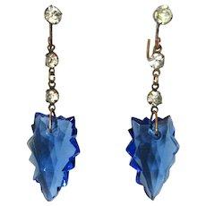 Art Deco Earrings, Glass Arrows & Paste