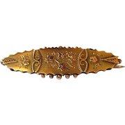 Antique Gold Brooch, Rose Gold Applique, 9K