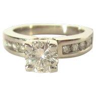 Diamond Ring, 14K, WG, Engagement F Color
