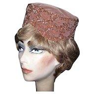 Velvet Pill Box Hat, Beaded & Sequins, Vintage 1950's