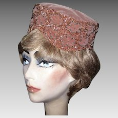 Velvet Pill Box Hat, Beaded & Sequins, Vintage 1950's