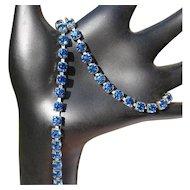 Rhinestone Bracelet & Necklace Set / Deco Blue