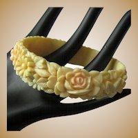 Celluloid Floral Bangle, 30's Painted, Molded Bracelet