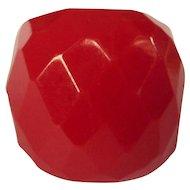 Vintage Bakelite Ring, Red Faceted