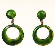 Bakelite Hoop Earrings, Marbled Spinach